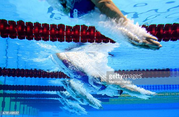Athletes compete in the Women's 400m Individual Medley heats during day eleven of the Baku 2015 European Games at the Baku Aquatics Centre on June 23...