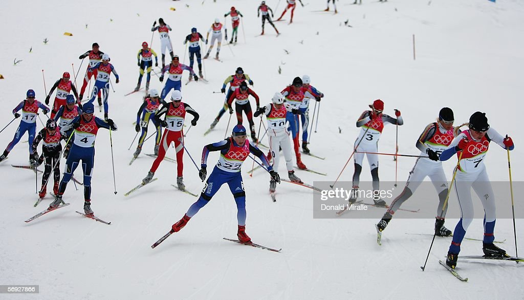 Athletes compete in the Womens Cross Country Skiing 30km Mass Start Final on Day 14 of the 2006 Turin Winter Olympic Games on February 24 2006 in...