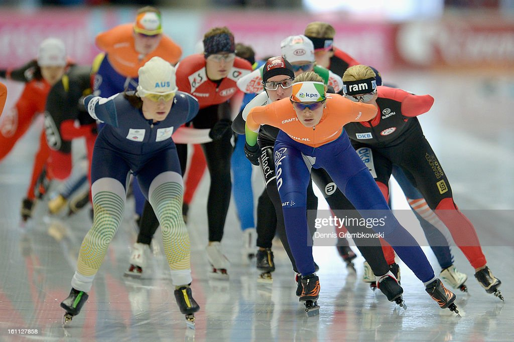 Athletes compete in the Women's mass start race during day one of the ISU Speed Skating World Cup at Max Eicher Arena on February 9, 2013 in Inzell, Germany.