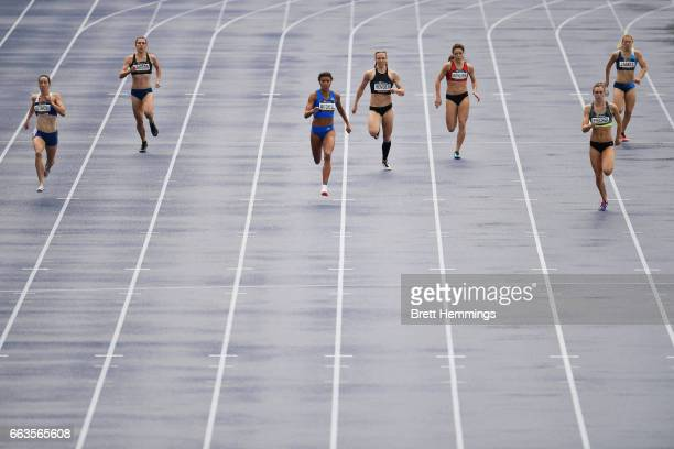 Athletes compete in their Open Womens 200m race during day eight of the 2017 Australian Athletics Championships at Sydney Olympic Park on April 2...