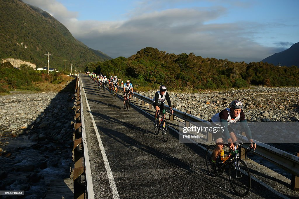 Athletes compete on the first cycle leg in the individual two day event during the 2013 Speights Coast to Coast on February 8, 2013 in Greymouth, New Zealand.