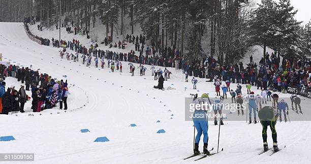 Athletes compete on the Karpalonmäki section during the Men's Skiathlon 15km classic and 15km free style event of the FIS Cross Country Skiing World...