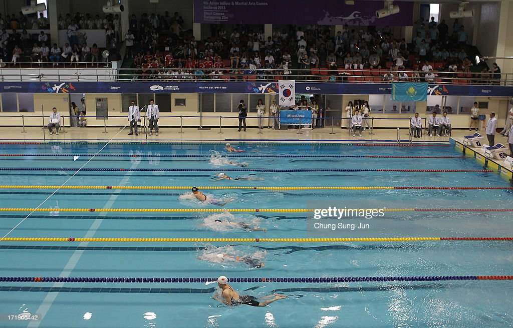 Athletes compete Women's Breastroke 100m final during day two of the 4th Asian Indoor & Martial Arts Games at Dowon Aquatics on June 30, 2013 in Incheon, South Korea.