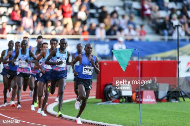 Athletes competes during the man's 1500 meters within the International Association of Athletics Federations Diamond League in Paris France on July...