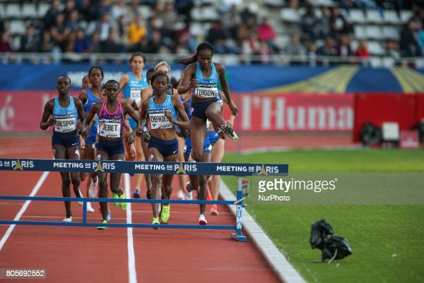 Athletes competes during the womans 3000 meters steeple within the International Association of Athletics Federations Diamond League in Paris France...