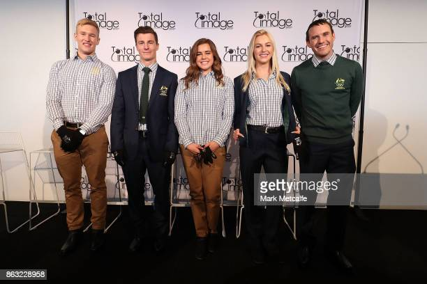Athletes David Morris Danielle Scott Jarryd Hughes Britt Cox and Matt Graham pose during the Australian Olympic Committee 2018 Winter Olympic Games...