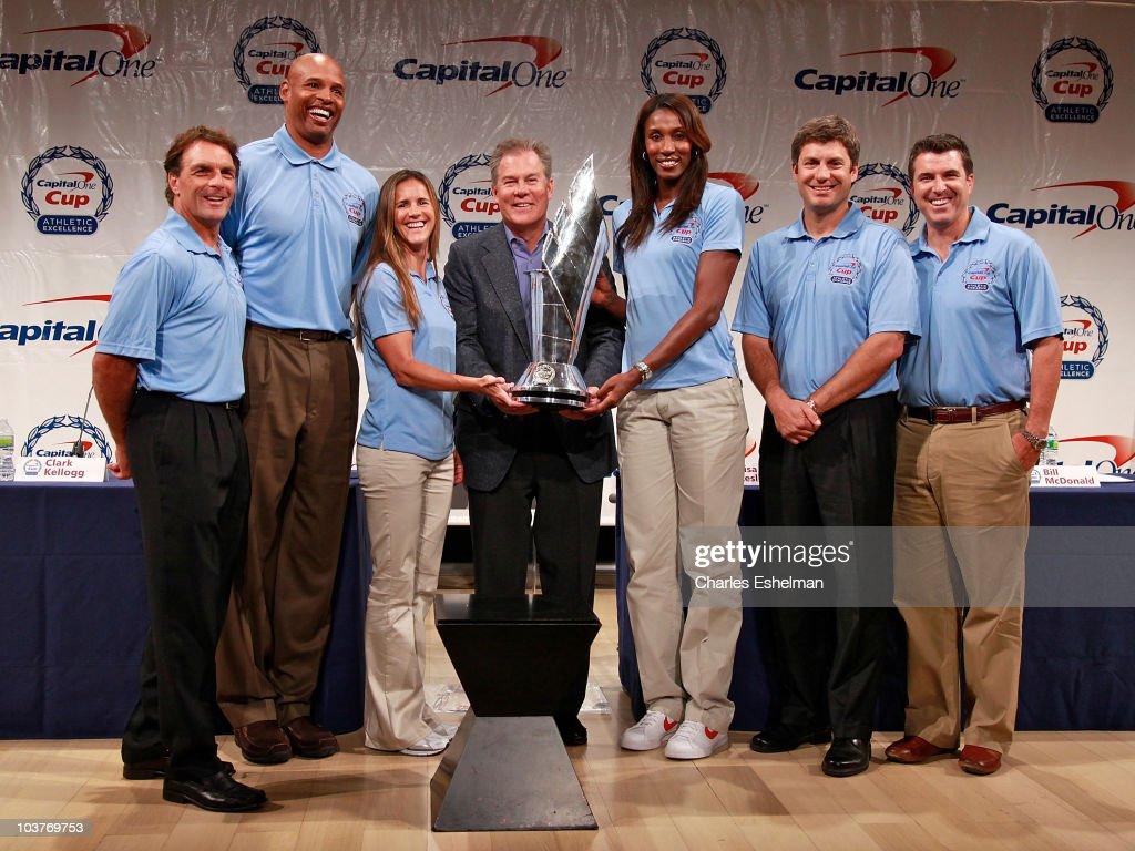Athletes Doug Flutie Clark Kellogg Brandi Chastain Capital One CMO Bill McDonald athletes Lisa Leslie Robin Ventura and ESPN sports journalist Rece...