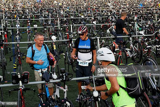 Athletes drop off their bikes a day before Ironman Barcelona on October 1 2016 in Calella near Barcelona Spain