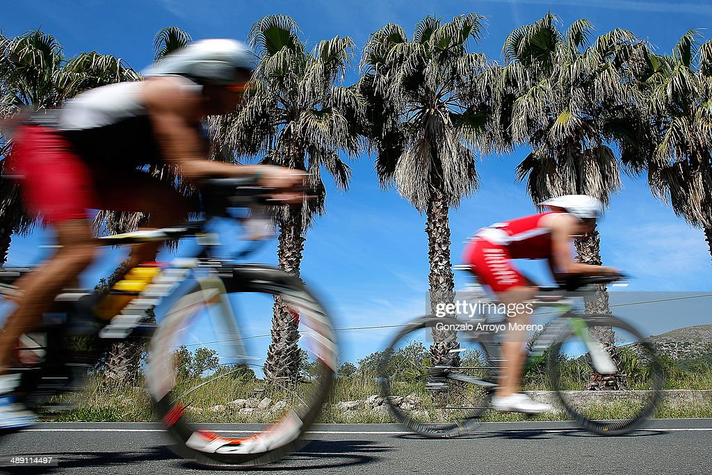Athletes during the cycling leg of the Ironman 70.3 Mallorca on May 10, 2014 in Mallorca, Spain.