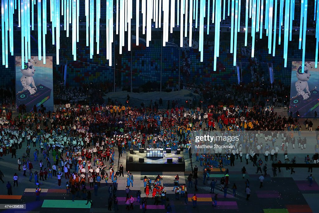 Athletes enjoy the closing party after the 2014 Sochi Winter Olympics Closing Ceremony at Fisht Olympic Stadium on February 23, 2014 in Sochi, Russia.