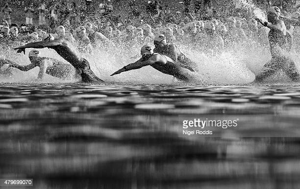Athletes enter the water to start the swim section of Ironman European Championships Frankfurt on July 5 2015 in Frankfurt am Main Germany Note to...
