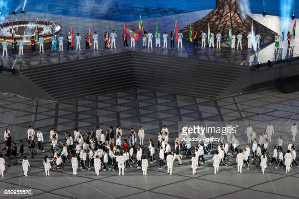 Athletes from Azerbaijan make their way into the stadium during the closing ceremony of Baku 2017 4th Islamic Solidarity Games at the Olympic Stadium...