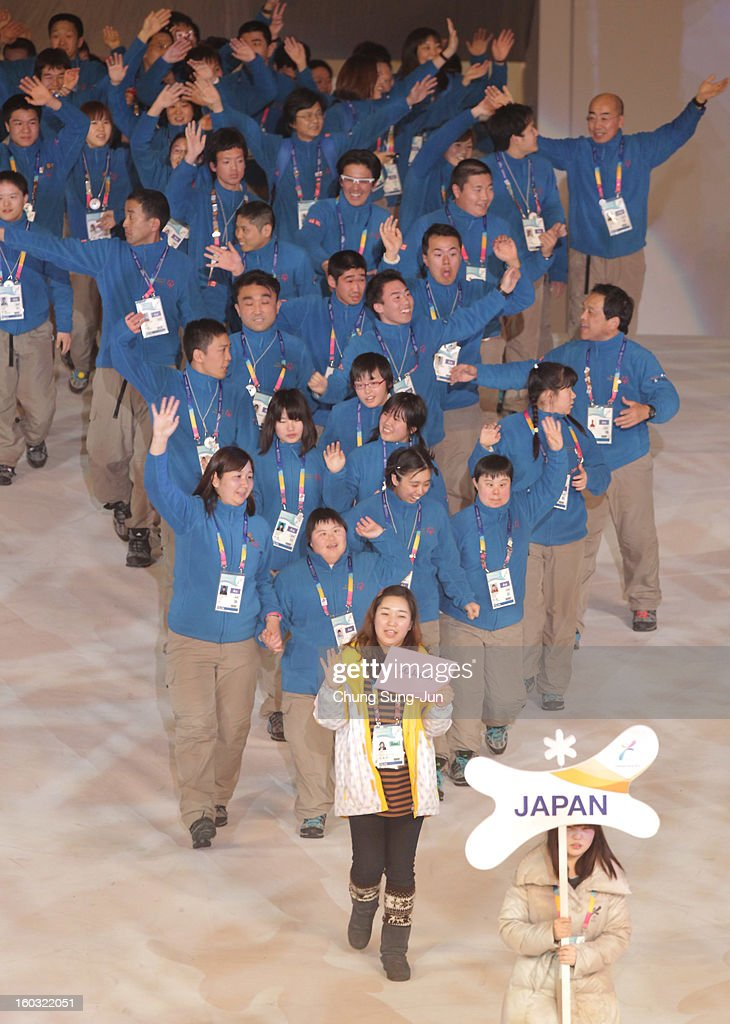 Athletes from Japan arrive during the Opening Ceremony of the 2013 Pyeongchang Special Olympics World Winter Games at the Yongpyeong stadium on January 29, 2013 in Pyeongchang-gun, South Korea.