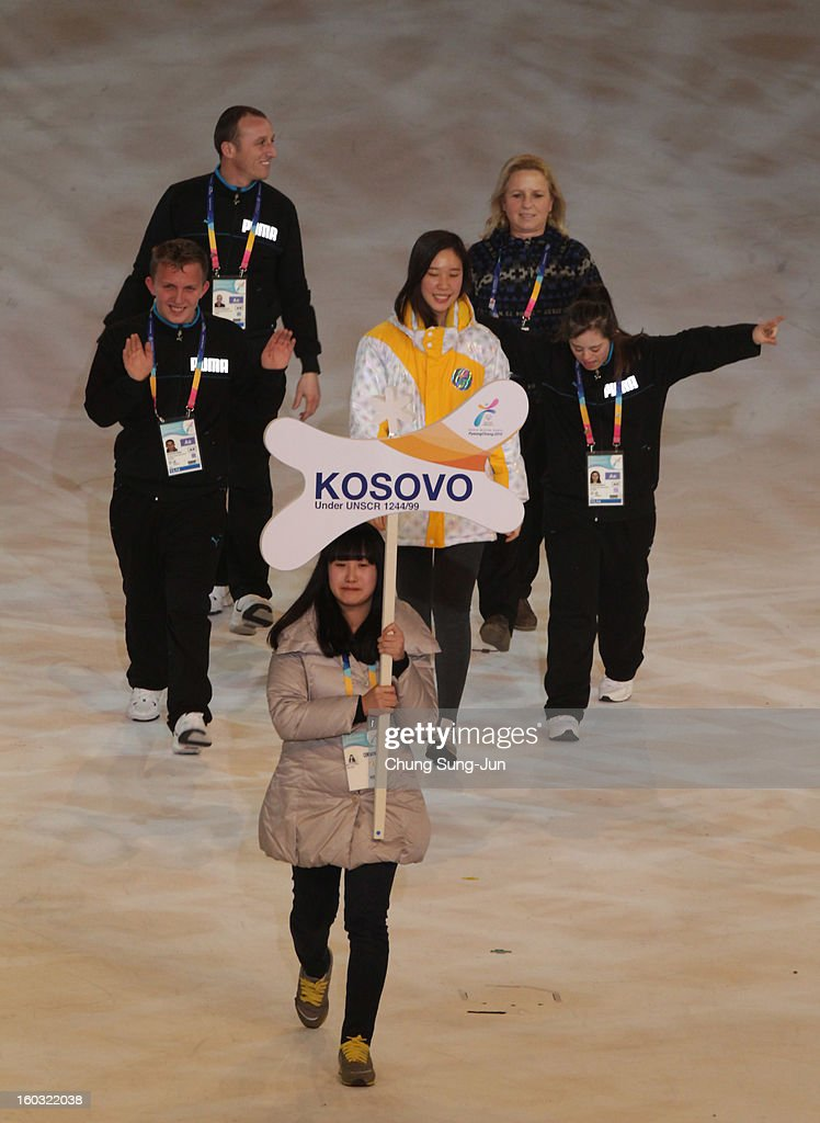Athletes from Kosovo arrive during the Opening Ceremony of the 2013 Pyeongchang Special Olympics World Winter Games at the Yongpyeong stadium on January 29, 2013 in Pyeongchang-gun, South Korea.