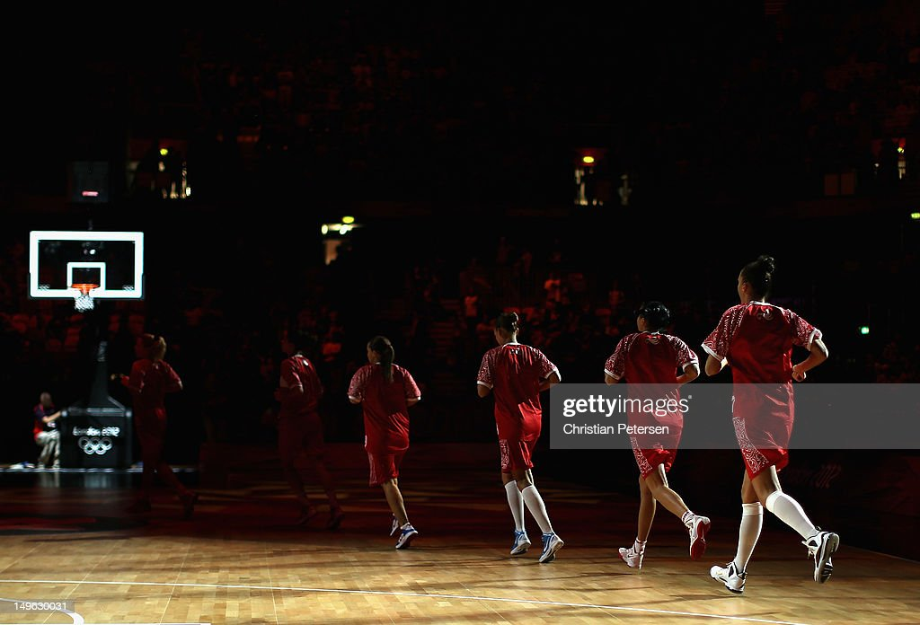 Athletes from Russia run out onto the court before the Women's Basketball Preliminary Round match against Great Britain on Day 5 of the London 2012 Olympic Games at Basketball Arena on August 1, 2012 in London, England.