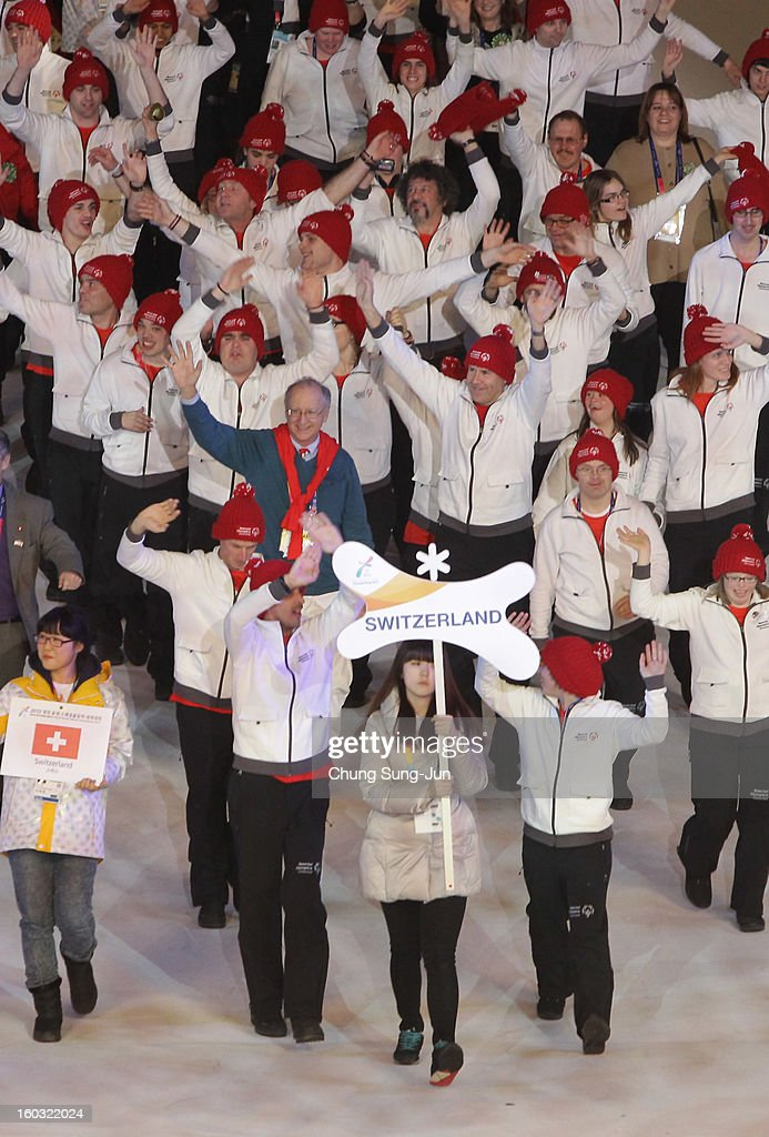Athletes from Switzerland arrive during the Opening Ceremony of the 2013 Pyeongchang Special Olympics World Winter Games at the Yongpyeong stadium on January 29, 2013 in Pyeongchang-gun, South Korea.