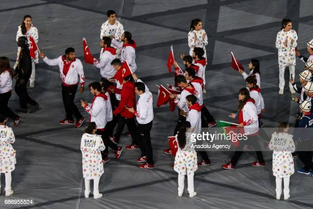 Athletes from Turkey make their way into the stadium during the closing ceremony of Baku 2017 4th Islamic Solidarity Games at the Olympic Stadium on...