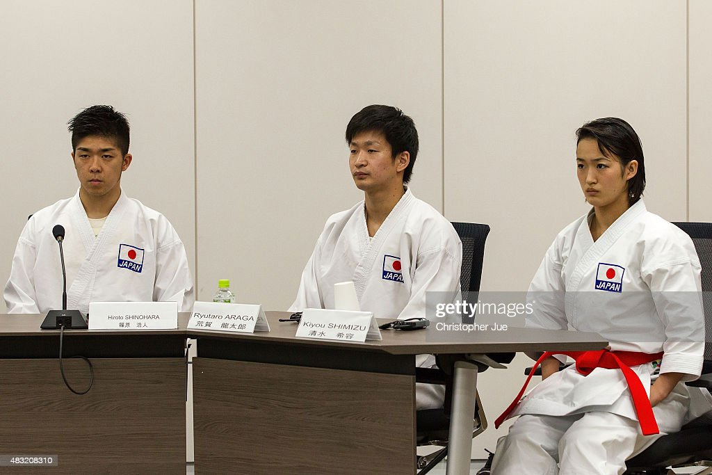 Athletes Hiroto Shinohara, <a gi-track='captionPersonalityLinkClicked' href=/galleries/search?phrase=Ryutaro+Araga&family=editorial&specificpeople=7361550 ng-click='$event.stopPropagation()'>Ryutaro Araga</a>, and Kiyou Shimizu of World Karate Federation (WKF) give a presentation during the interview session on August 7, 2015 in Tokyo, Japan. The delegates from the eight shortlisted international federations -Baseball/Softball (WBSC), Bowling (WB), Karate (WKF), Roller Sports (FIRS), Sport Climbing (IFSC), Squash (WSF), Surfing (ISA), Wushu (IWUF) - were interviewed to be considered for inclusion at the Tokyo 2020 Olympic Games. Tokyo's final choice of events to be proposed to the IOC will be made by September 30, 2015.