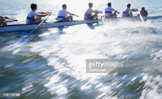 Athletes in a crew long canoe