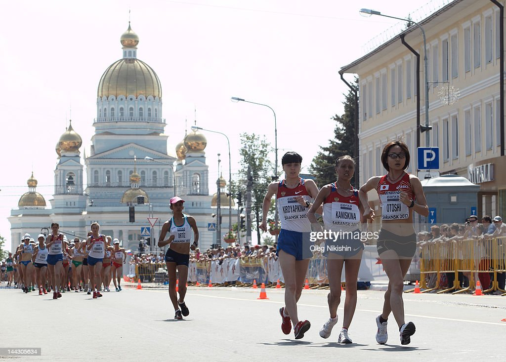 Athletes in action during in the competition of women's 20 km IAAF World Race Walking Cup 2012 on May 13, 2012 in Saransk, Russia.