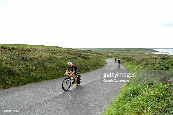 Athletes in action during Ironman Wales on September 18 2016 in Pembroke Wales