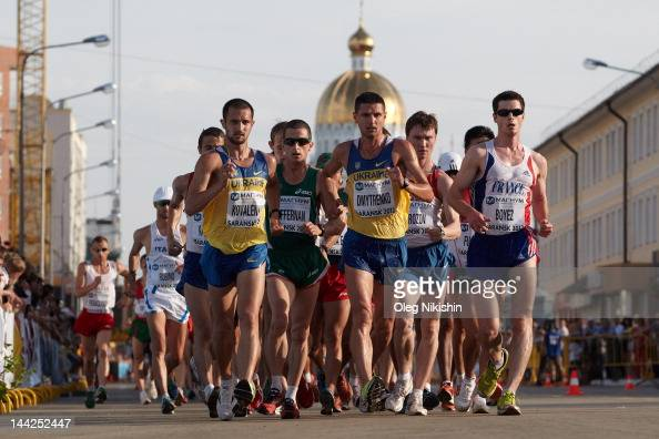 Athletes in action during the competition of men's 20km IAAF World Race Walking Cup 2012 on May 12 2012 in Saransk Russia