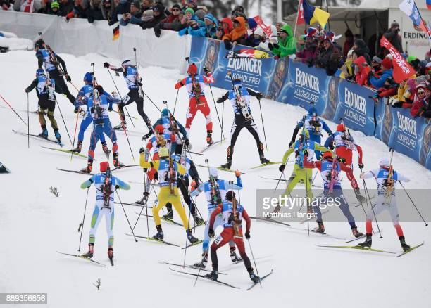 Athletes in action during the Men's 4x75km relay competition of the BMW IBU World Cup Biathlon on December 10 2017 in Hochfilzen Austria