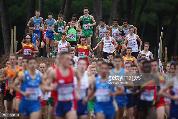 Athletes in the U23 Men's race stretch out during the Spar European Cross Country Championships on December 13 2015 in Hyeres France
