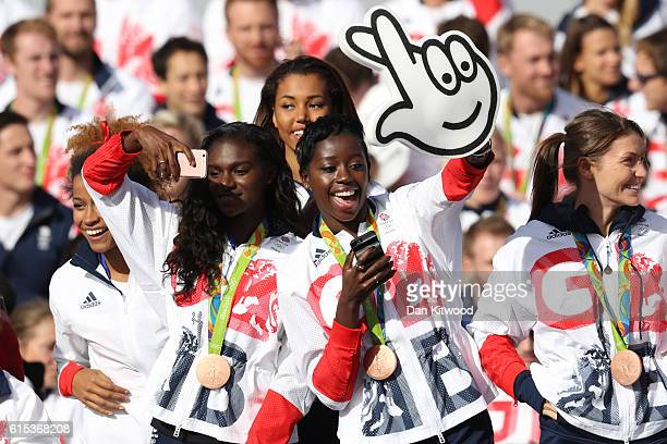 Athletes Jazmin Sawyers Dina AsherSmith Morgan Lake Desiree Henry and Kelly Massey enjoy the atmosphere during the Olympics Paralympics Team GB Rio...
