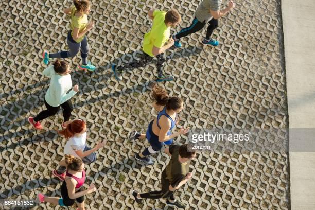 Athletes jogging