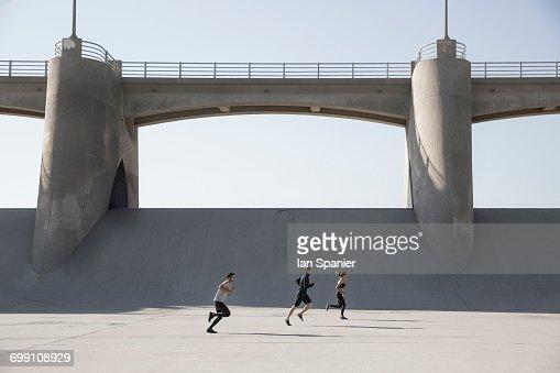 'Athletes jogging, Van Nuys, California, USA'