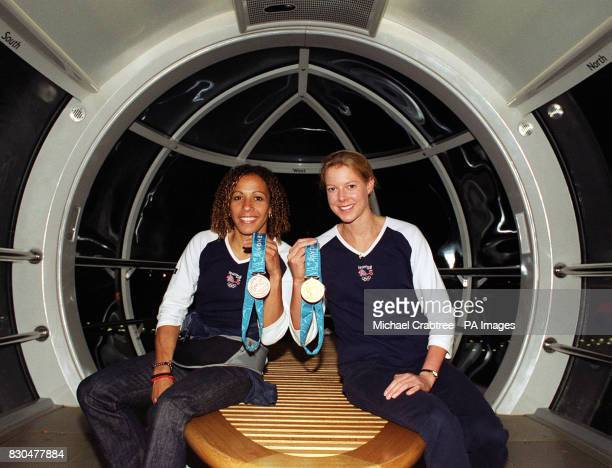 Athletes Kelly Holmes who won a bronze medal in the 800m and Stephanie Cook who won a gold medal in the modern pentathalon inside a capsule on the...