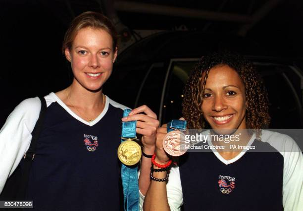 Athletes Kelly Holmes who won a bronze medal in the 800m and Stephanie Cook who won a gold in the modern pentathalon inside a capsule on the London...