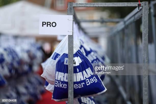 Athletes kit bags are seen ahead of IRONMAN Kalmar on August 18 2017 in Kalmar Sweden