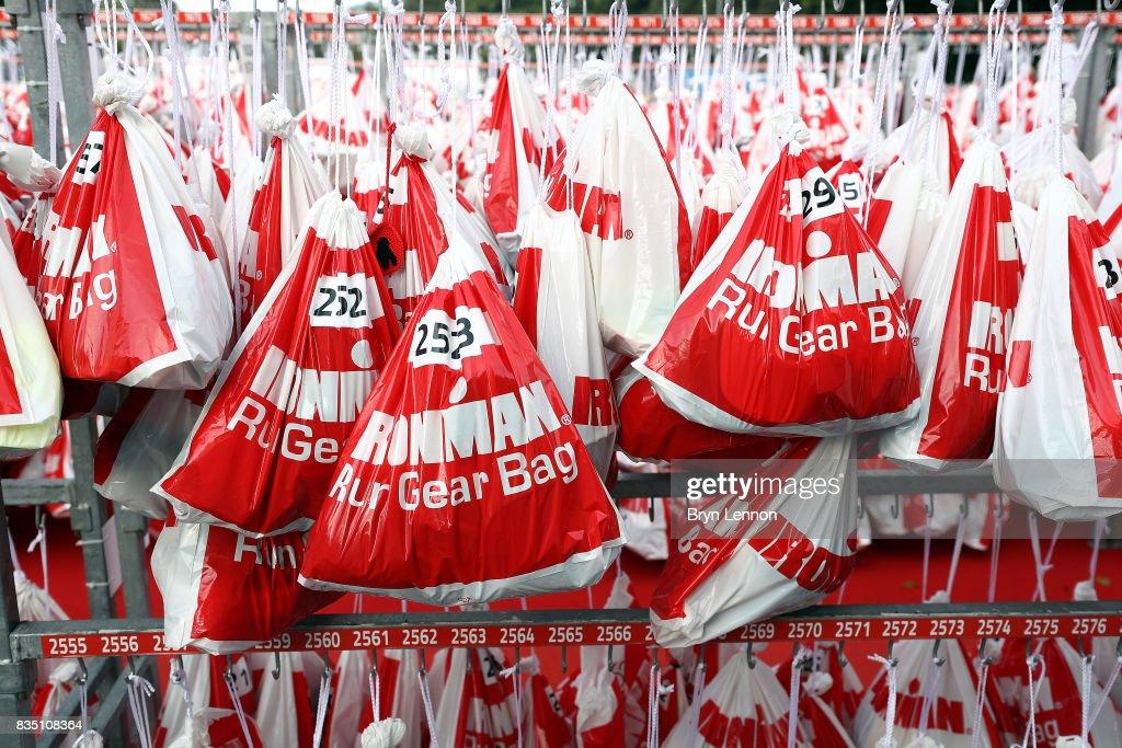 Athletes kit bags are seen ahead of IRONMAN Kalmar on August 18, 2017 in Kalmar, Sweden.