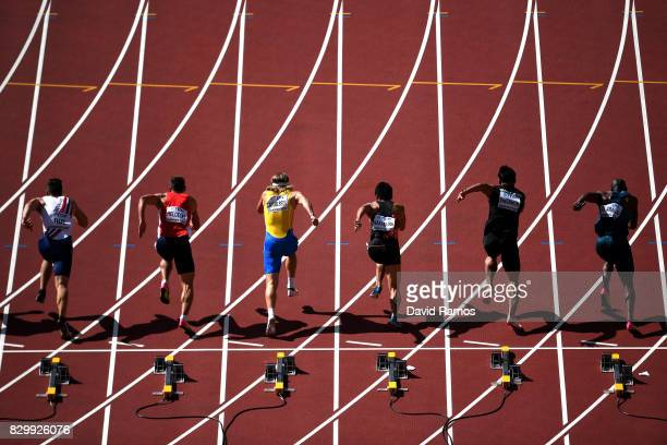 Athletes leave the blocks at the start of the Men's Decathlon 100 metres during day eight of the 16th IAAF World Athletics Championships London 2017...