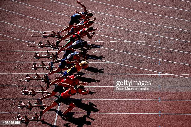 Athletes leave the blocks at the start of the the Men's Decathlon 100 metres during day one of the 22nd European Athletics Championships at Stadium...