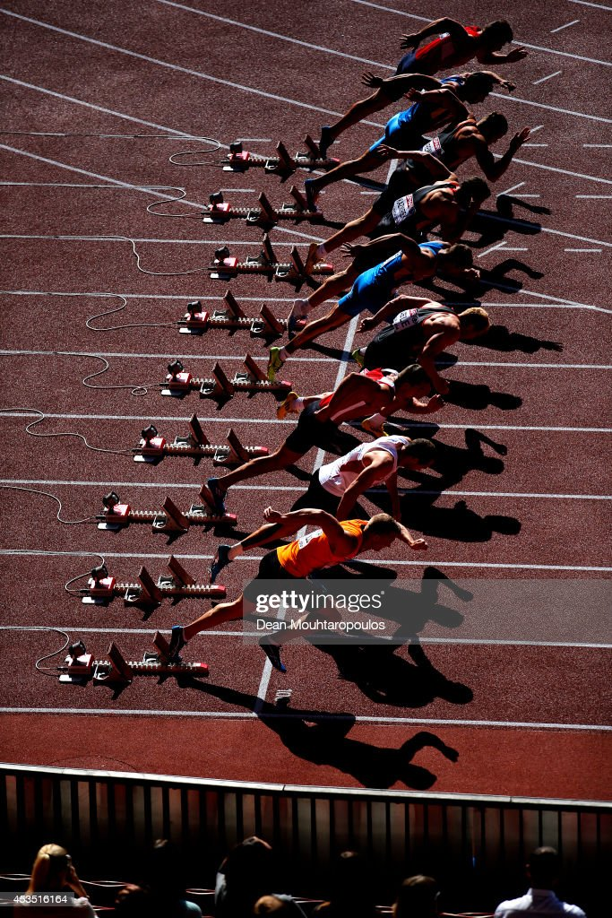 Athletes leave the blocks at the start of the the Men's Decathlon 100 metres during day one of the 22nd European Athletics Championships at Stadium Letzigrund on August 12, 2014 in Zurich, Switzerland.