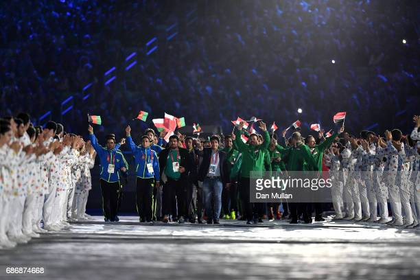 Athletes make their way into the stadium during the closing ceremony of Baku 2017 4th Islamic Solidarity Games at the Olympic Stadium on May 22 2017...