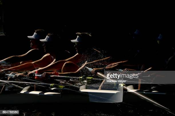 Athletes make their way to the starting line during the Head of the Charles Regatta on October 21 2017 in Boston Massachusetts