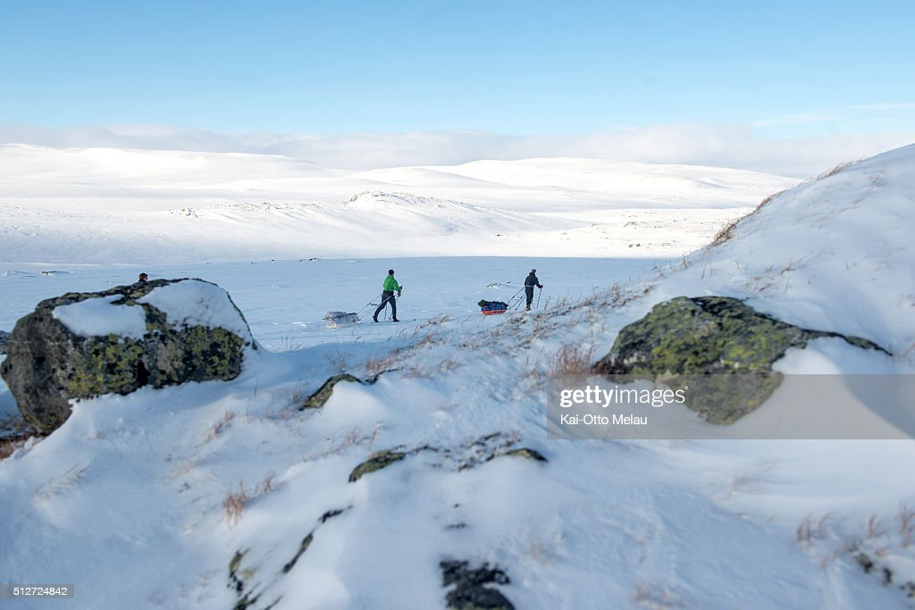 Athletes making their way over the plateau during Expedition Amundsen on February 27, 2016 in Eidfjord, Norway. Expedition Amundsen is called the world`s hardest skirace. 40km across the Hardangervidda, 40kg in the sled and 100km. The race follows the path of the explorer Roald Amundsen.