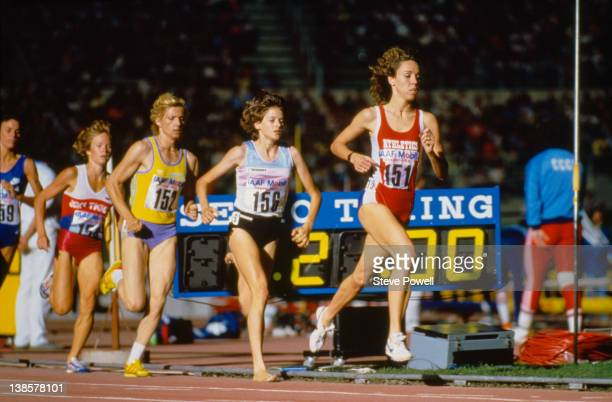 Athletes Maricica Puica Zola Budd and Mary Decker during the IAAF Grand Prix Final in Rome 1985