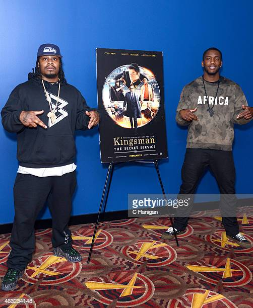 Athletes Marshawn Lynch and Josh Johnson attend the special San Francisco screening of 'Kingsman The Secret Service' at AMC Metreon 16 on February 11...