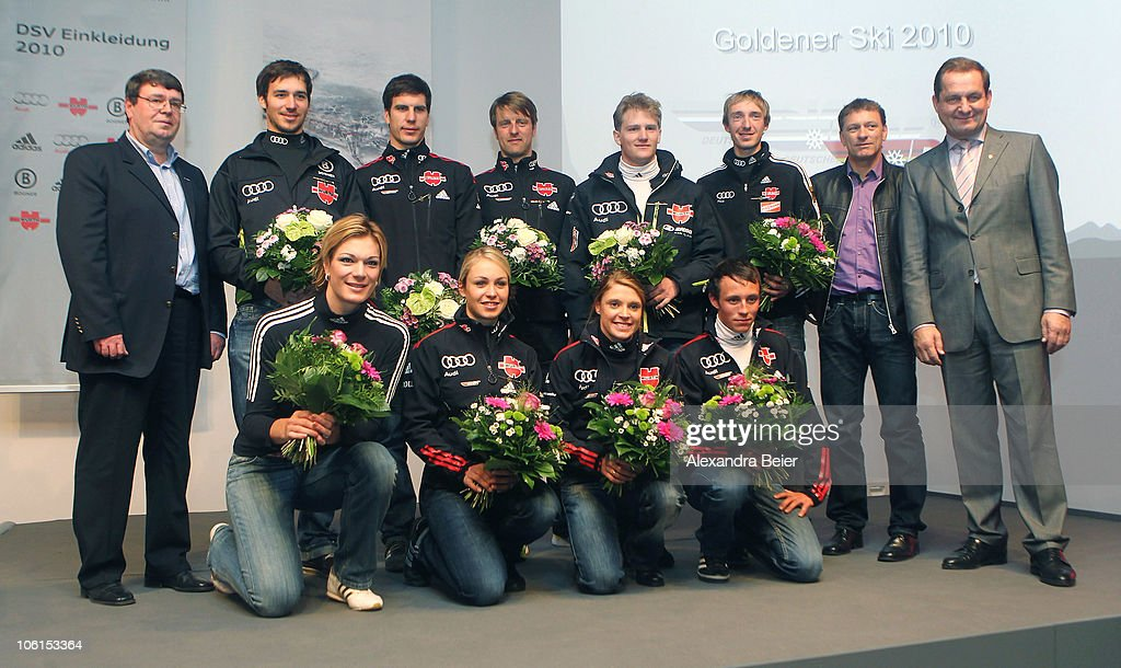 Athletes of the German Ski Federation (DSV) pose after they received the 'Golden Ski ' award given from DSV to their successful athletes on October 27, 2010 in Ingolstadt, Germany. Top (L-R): DSV general secretary Thomas Pfueller, alpine skier <a gi-track='captionPersonalityLinkClicked' href=/galleries/search?phrase=Felix+Neureuther&family=editorial&specificpeople=807800 ng-click='$event.stopPropagation()'>Felix Neureuther</a>, biathlete Arnd Peiffer, cross country skier <a gi-track='captionPersonalityLinkClicked' href=/galleries/search?phrase=Axel+Teichmann&family=editorial&specificpeople=773876 ng-click='$event.stopPropagation()'>Axel Teichmann</a>, ski crosser Simon Stickl, ski jumper <a gi-track='captionPersonalityLinkClicked' href=/galleries/search?phrase=Michael+Uhrmann&family=editorial&specificpeople=722919 ng-click='$event.stopPropagation()'>Michael Uhrmann</a>, DSV alpine sports director Wolfgang Maier, DSV president Alfons Hoermann; bottom (L-R): alpine skier Maria Riesch, biathlete <a gi-track='captionPersonalityLinkClicked' href=/galleries/search?phrase=Magdalena+Neuner&family=editorial&specificpeople=2095093 ng-click='$event.stopPropagation()'>Magdalena Neuner</a>, cross country skier <a gi-track='captionPersonalityLinkClicked' href=/galleries/search?phrase=Evi+Sachenbacher-Stehle&family=editorial&specificpeople=817556 ng-click='$event.stopPropagation()'>Evi Sachenbacher-Stehle</a> and nordic combined skier <a gi-track='captionPersonalityLinkClicked' href=/galleries/search?phrase=Eric+Frenzel&family=editorial&specificpeople=4595984 ng-click='$event.stopPropagation()'>Eric Frenzel</a>.