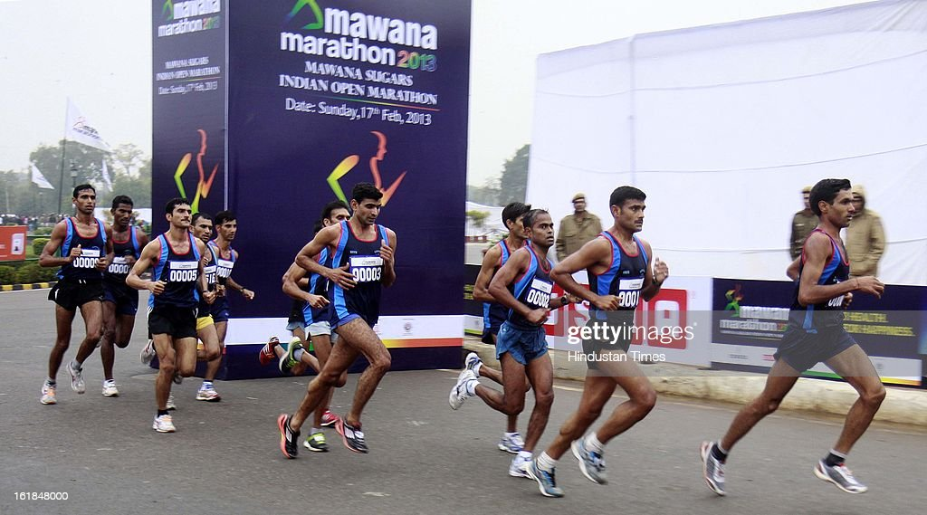 Athletes participating Mawana Sugars Indian Open Marathon 2013 at India Gate on February 17, 2013 in New Delhi, India.