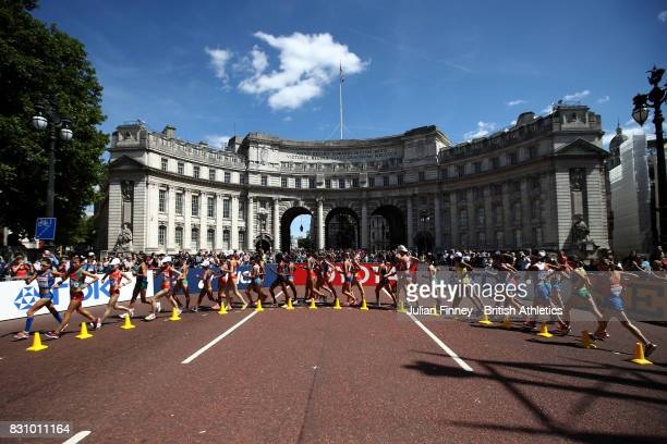Athletes pass Admiralty Arch in the Women's 20km Race Walk final during day ten of the 16th IAAF World Athletics Championships London 2017 at The...