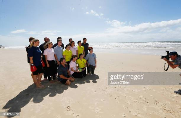 Athletes pose for photos during the 2018 Commonwealth Games One Year To Go ceremony at Broadbeach on the Gold Coast on April 4 2017 in Gold Coast...