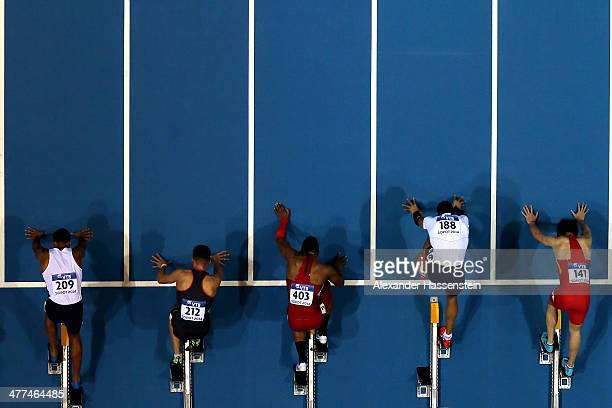 Athletes prepare for the start of the Men's 60m semi finale on day three of the IAAF World Indoor Championships at Ergo Arena on March 9 2014 in...