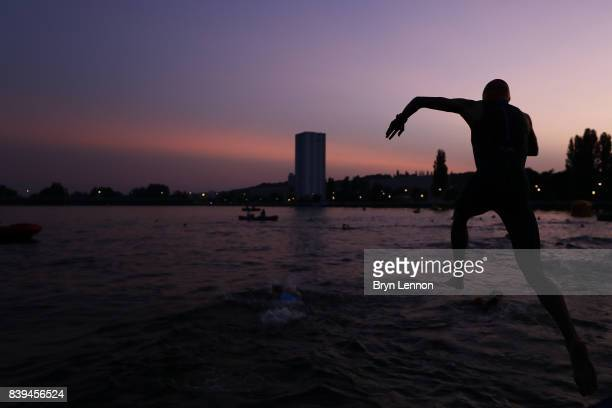 Athletes prepare for the swim leg at the start of IRONMAN 703 Vichy on August 26 2017 in Vichy France