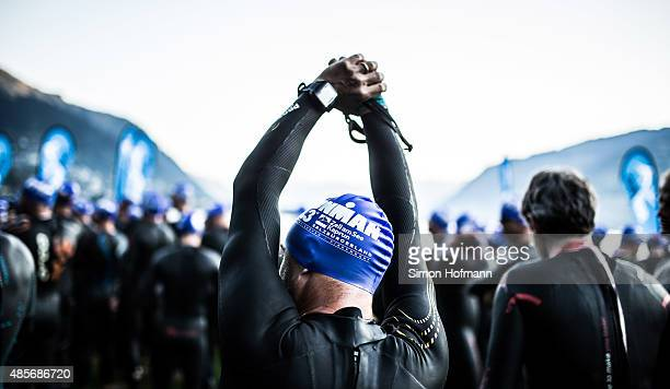 Athletes prepare for the swimming prior to the Ironman 703 Zell am See Kaprun on August 29 2015 in Zell am See Austria